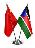 China and South Sudan - Miniature Flags.