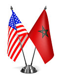 USA and Morocco - Miniature Flags.