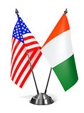 USA and Ivory Coast - Miniature Flags.