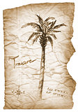 Old treasure map with burned, edges on white background.