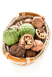 Basket with walnuts.