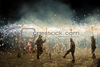Correfoc performance by the devils or Diables in Spain