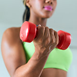 Home Fitness Black Woman Training Biceps With Weights-3