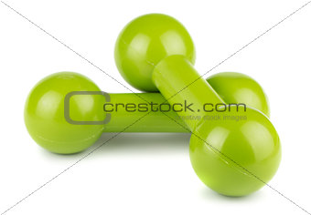 Green dumbbells for fitness