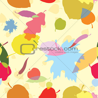 Autumn seamless pattern with multicolor leaves
