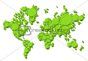 green world map, 3D dots, vector