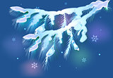 Snowy fir branch for Christmas. EPS10 vector illustration