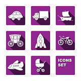 Funny transport icons set