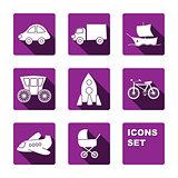 Funny transport icons set