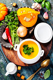Pumpkin soup  with fresh ingredients
