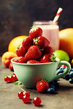 Fresh strawberry, smoothie and fruits