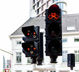 Bicycle traffic lights in Eindhoven, Netherlands