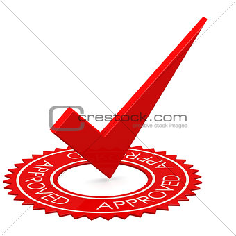 Approved red tick in a circle