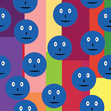 Seamless pattern with blue smileys over retro background