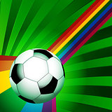 Football over a curved rainbow on green background