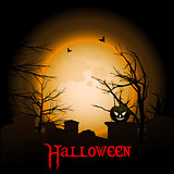 Halloween background with moon graveyard and text