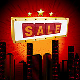 Sale sign over abstract cityscape