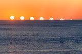 Sunset sequence over water. Mediterranean Sea