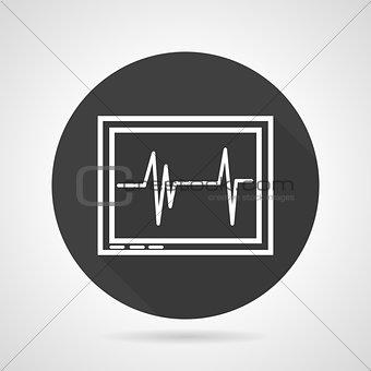 Cardiogram black round vector icon