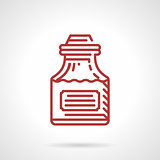 Tattoo ink bottle red line vector icon