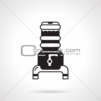 Black water cooler jug vector icon