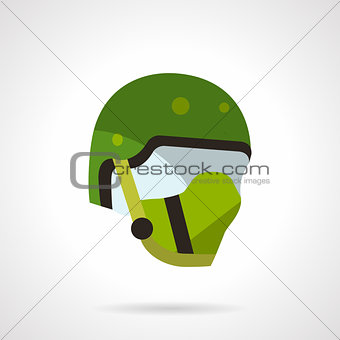 Green sports helmet vector icon