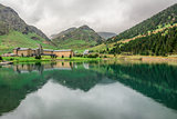 Nuria Sanctuary and reflection in the catalan pyrenees.Spain