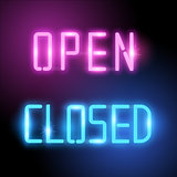 Open and Closed Neon Vector Signs