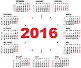 Wall calendar clock 2016