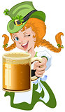 Red haired girl leprechaun holding a glass beer mug