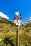 Directional Trail Signs in Mountain - Italian Alps