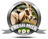 Fresh Milk - Metal Icon with Goat
