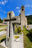 Granite Cross in an Italian Mountain Cemetery