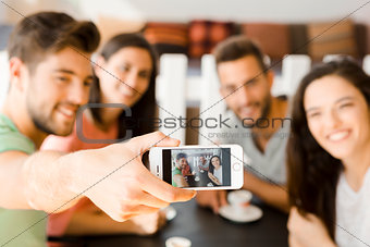 Group selfie at the coffee shop