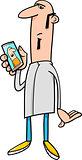 guy with mobile cartoon