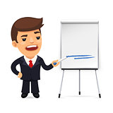 Businessman With Marker in Front of the Flipchart