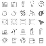 Electricity, Power and Energy Icon Set
