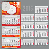 Vector calendar 2016 - Planner for three month