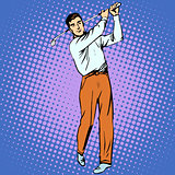 Handsome man playing Golf retro style pop art