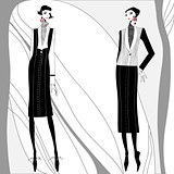 Vector romantic art deco women in coats.