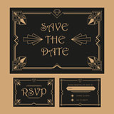 Wedding Save The Date and RSVP Card - Art Deco Vintage Style