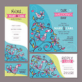 Set of cute wedding cards