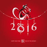 Chinese new year greeting card with monkey