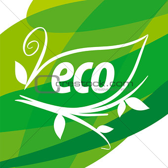 Abstract eco vector logo with floral patterns