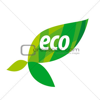 Abstract eco vector logo with green leaves