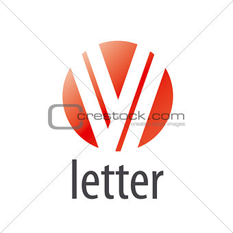 Abstract round vector logo letter V