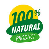 Abstract vector logo for 100% natural products