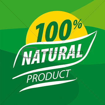 Abstract vector logo for organic food on a green background