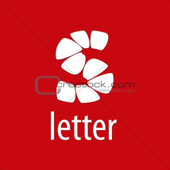 Abstract vector logo letter S on a red background