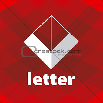 Abstract vector logo letter V on a red background
